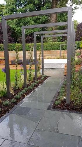 Landscaping Paving planting garden design structure patio indian stone paving red cedar wood