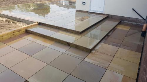 Landscaping patio steps paving slabs Indian stone paving