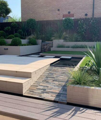 Garden landscaping garden design paving block slabs indian stone planting